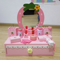 miniature wooden Dressing table for dolls house white pretend play toys girls children dollhouse furniture toy gifts