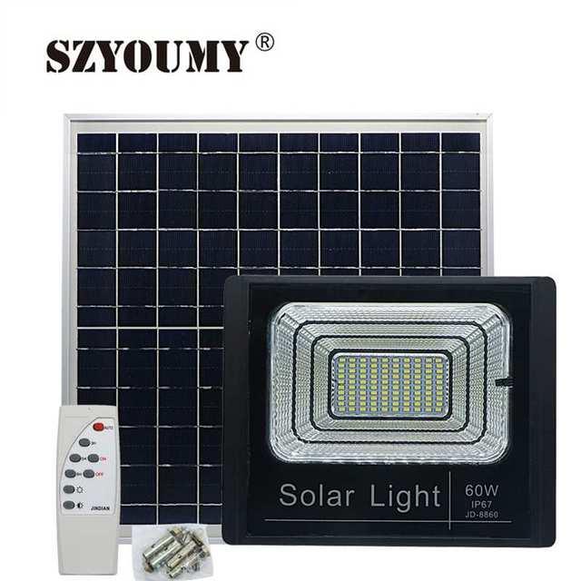 SZYOUMY LED Solar flood Light 25W 40W 60W 100W Spotlights IP66 Intelligent Outdoor Lighting Waterproof Garden Square Landscape