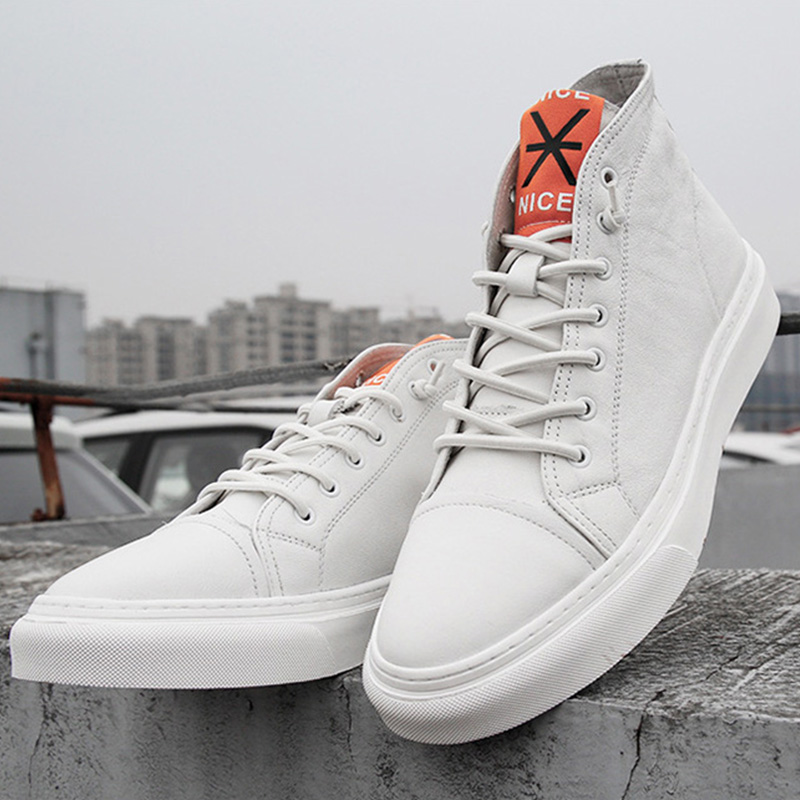 100% Cow Leather Men Shoes High Top Sneakers Ins Casual Men White Shoes Genuine Leather Men Footwear Brand Male Shoes KA1084