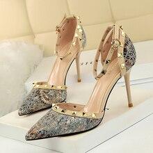 hot deal buy bigtree high heels women dress shoes fashion wedding shoes rivet heels bridal shoes black/silver/blue heels