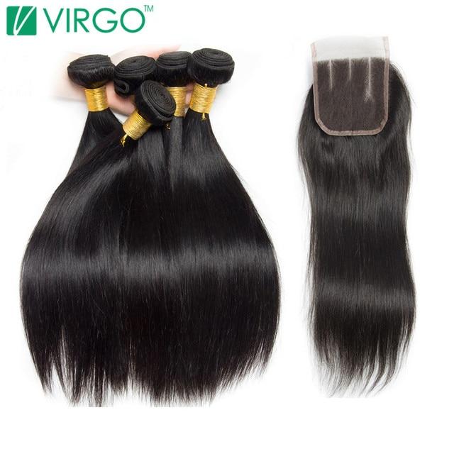 Péruvienne Droite de Cheveux Humains Bundles Avec Fermeture 3 Bundles Offre avec Fermeture 4 Pcs/Lot Vierge Faisceaux de Cheveux Non Remy Moyen partie