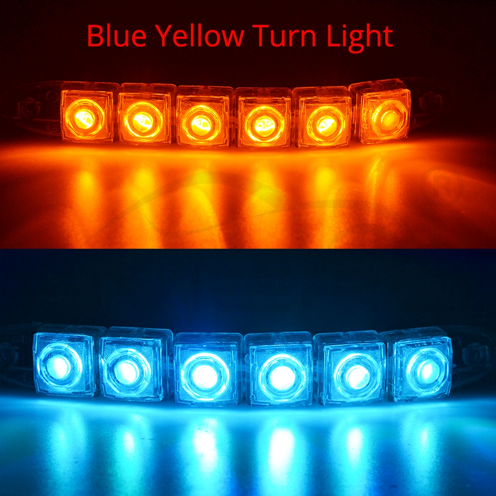 Hviero DRL Daytime Running Lights 6LED Red Blue Green White Waterproof Bright Flexible Driving Fog Bulb Warning Lamp DC 12V Auto Led