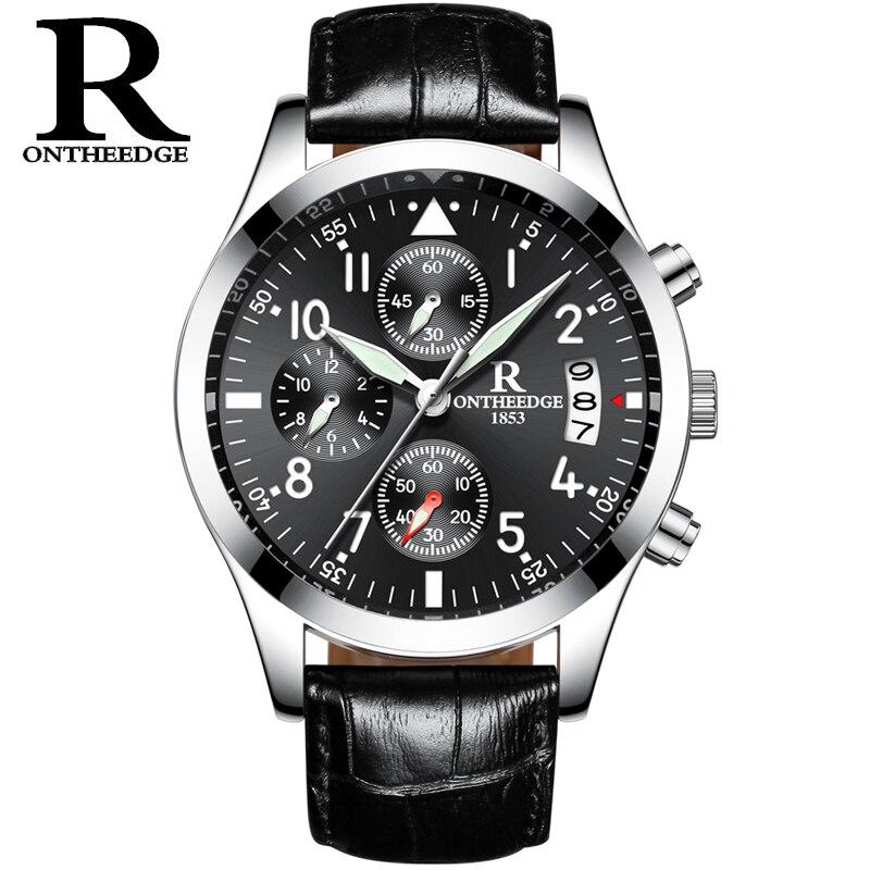 c91a7033954 RONTHEEDGE Negócios Quartz Watch Auto Data Chronograph relógios de Pulso de  Luxo de Couro Masculino RZY028 Lumihous Relógios com caixa de presente em  ...
