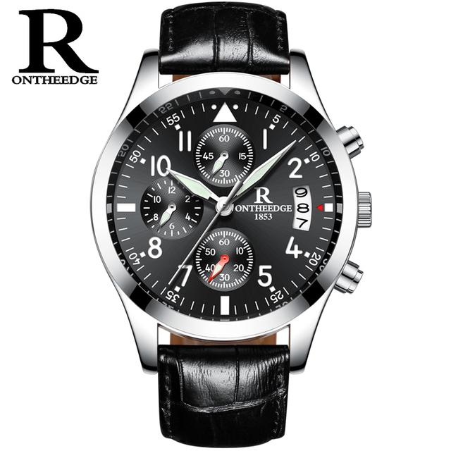 9089a988131 RONTHEEDGE Negócios Quartz Watch Auto Data Chronograph relógios de Pulso de  Luxo de Couro Masculino RZY028