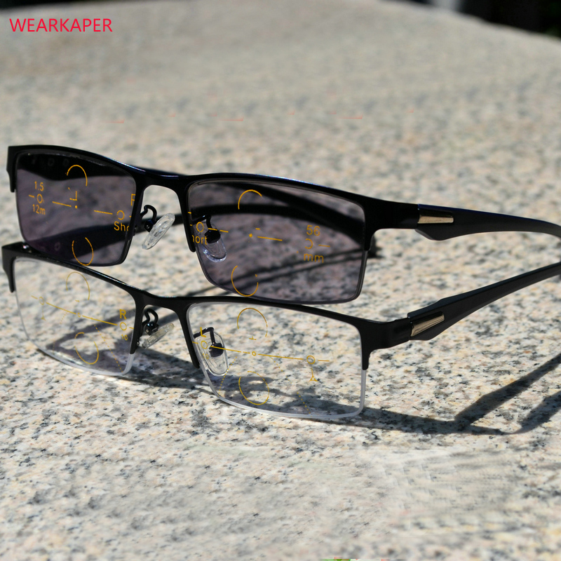 WEARKAPER Multi Focal Progressive Photochromic Reading Glasses Men Commercial Diopter Presbyopic Eyeglasses gafas de lectura-in Women's Reading Glasses from Apparel Accessories