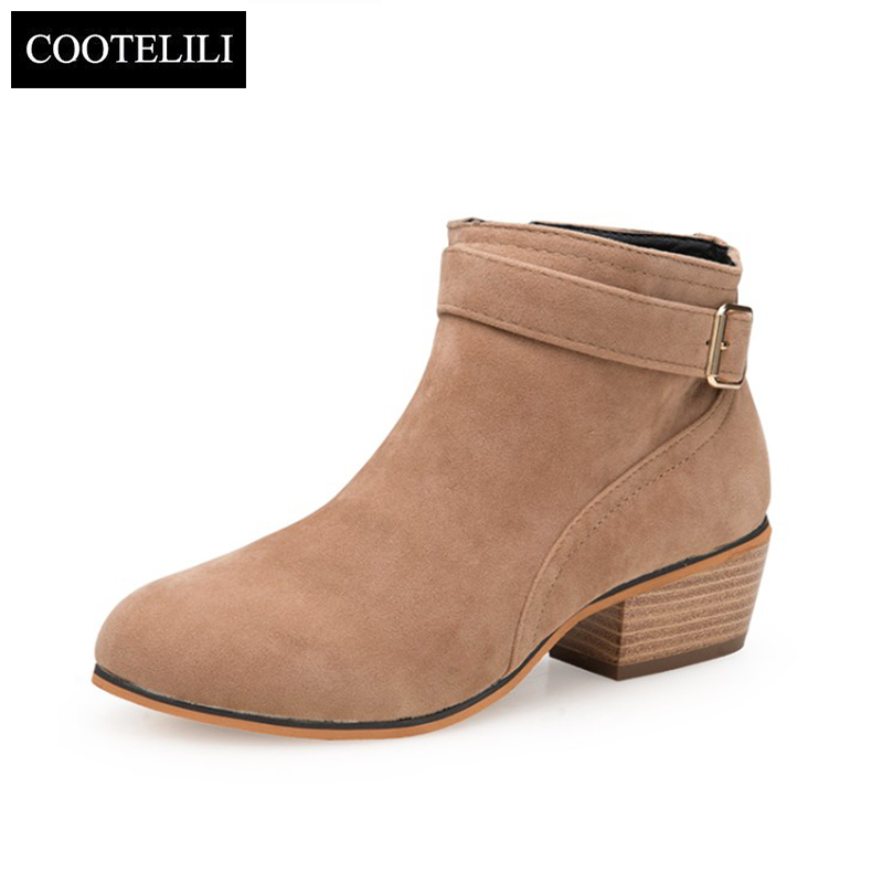 Fashion Casual Black Lace-Up Ankle Boots High Heels Winter Autumn Buckle Shoes Woman Comfortable Buckle Womens Leather Boots front lace up casual ankle boots autumn vintage brown new booties flat genuine leather suede shoes round toe fall female fashion