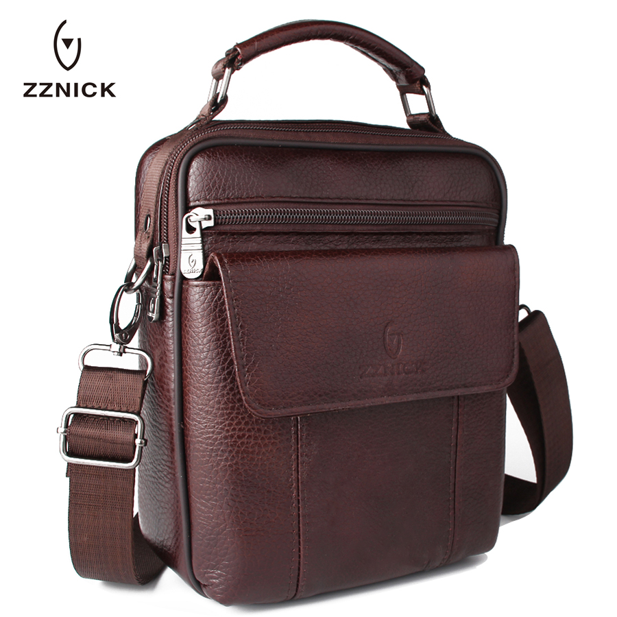 ZZNICK Luxury Men's Genuine Cowhide Leather Bag Men Crossbody Shoulder Bag Briefcase, Brand Vintage Men Messenger Bags Handbag