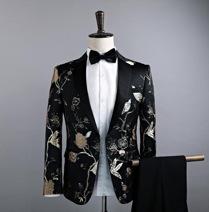 Певица Стиль Танцевальная сцена Одежда для мужчин шаблон костюм комплект со штанами мужские свадебные костюмы костюм жениха формальное платье галстук черный