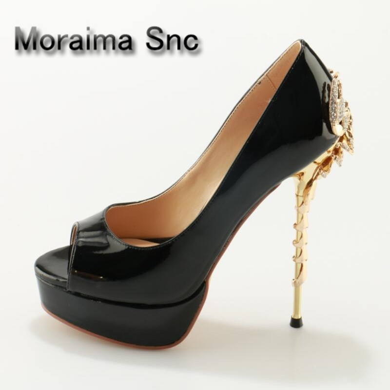 Moraima Snc Woman Peep Toe Scorpion Heel Pumps Crystal Slip-On Black Partent Leather Platform Shoes Stable Dress Party ShoesMoraima Snc Woman Peep Toe Scorpion Heel Pumps Crystal Slip-On Black Partent Leather Platform Shoes Stable Dress Party Shoes