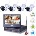 LEF 4CH NVR WI-FI DVR CCTV Sistema 4 PCS 720 P/960 P HD Ao Ar Livre câmera com 10 polegada LCD Monitor P2P Câmera De Segurança Kit 1 TB HDD