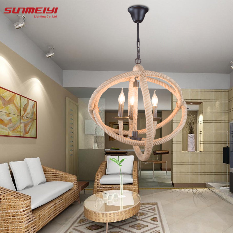 Retro Rope Pendant Light Loft Vintage Vintage Lamp Restaurant Bedroom Dining Room Room Diy
