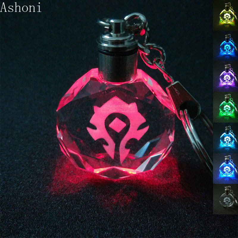 World Of Warcraft Keychain K9 Crystal Pendant Key Chain Laser Engraved Flash Color Changing Led Light Chain Keyring Kids Gift