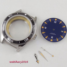 2019 High quality hardened Watch Case 41mm parnis Blue Dial + Hands + Watch Case Sapphire Glass set fit ETA 8215 2836 Movement цена и фото