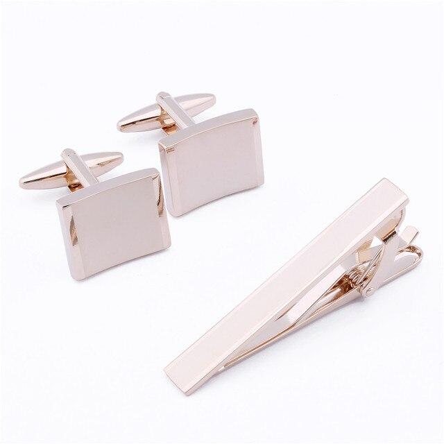 De Metal liso 1 Conjunto 2 Cores Opcionais em Ouro Rosa E Branco Abotoaduras de ouro E Gravata Bar Definido Para Homens Venda Quente