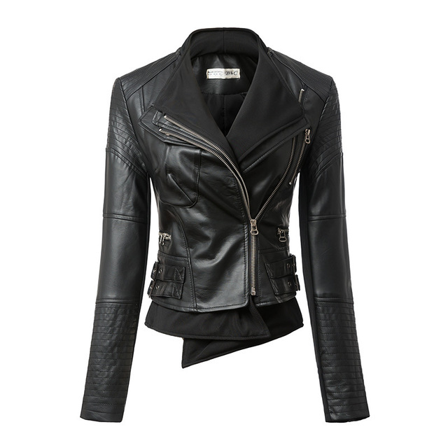 c6288515c Classic Leather Jacket Women Black Girls Biker Coat 2015 Fashion ...