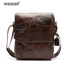 WEIXIER Mens Hot Fashion Genuine Leather Messenger Bag Shoulder Soft Material Multi-Function Mobile Phone