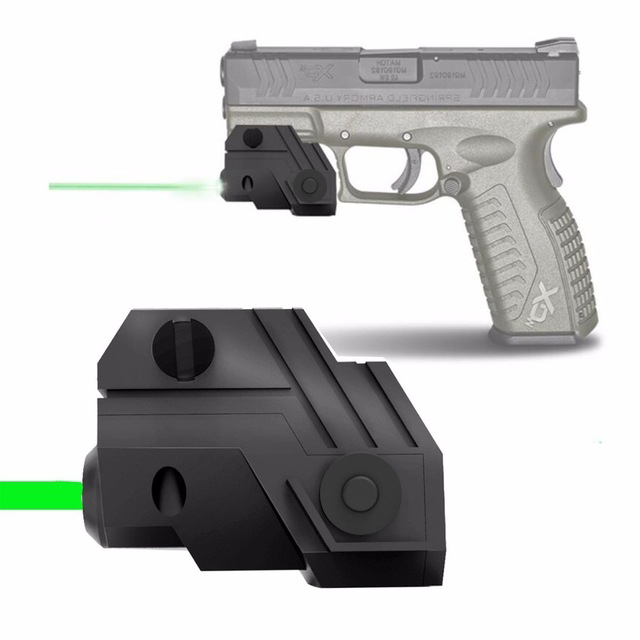 WIPSON Mini Sub Compact Tactical Rail Mount Low Profile Green Dot Laser Sight with Build-in Rechargeable Battery for Pistol mini compact tactical red dot laser bore sight scope with 20mm picatinny rail mount