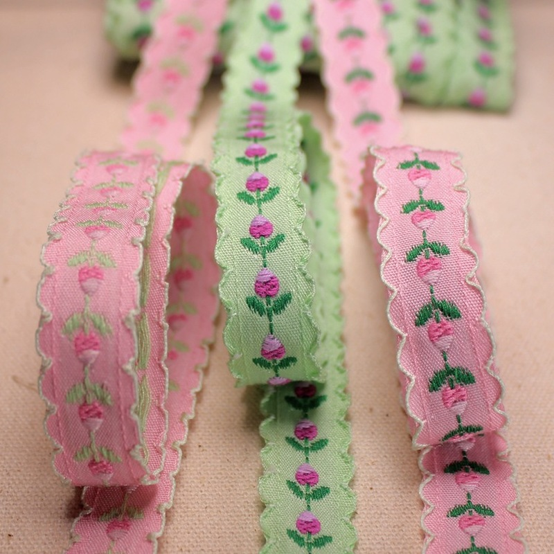 5 Yrds 15mm Jacquard Tulip Webbing Floral Lace Ribbon For