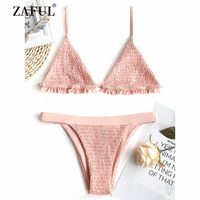 ZAFUL 2018 New Women Bralette Smocked Ruffles Bikini Set Swimwear Women Swimsuit Spaghetti Straps Sexy Low