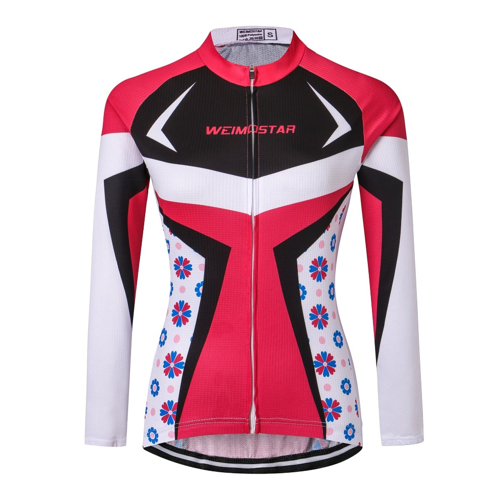 Weimostar Red MTB Bike Jersey Womens Cycling Clothing Girls Ropa Ciclismo Long Sleeves Riding bicycle Top Maillot Breathable