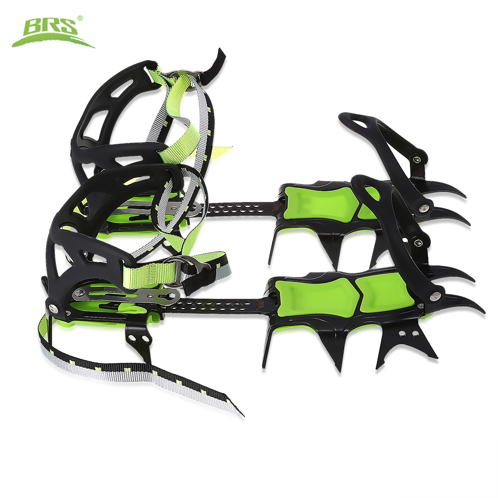 BRS 14 Teeth Bundled Crampons Professional Stainless Steel Shoes Non Slip Cover Ice Gripper Snow Board Skiing Hiking Climbing