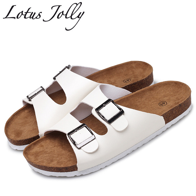 d5b857b0ef6d5 2018 New Summer Cork Slippers Shoes Women Slides Casual Mixed Color Pu Flip  Flops Beach Sandals Flat Plus Size 35-45 Sandalias