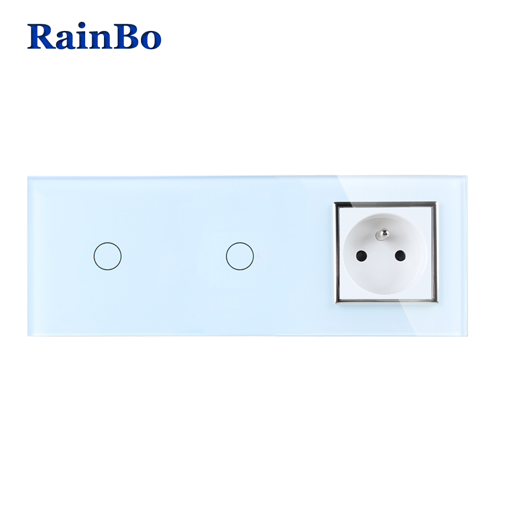 RainBo Crystal Glass Panel France Power Socket EU Touch  Socket Control Screen Wall Light Switch 1gang1way  A3911118FCW/B 2017 smart home crystal glass panel wall switch wireless remote light switch us 1 gang wall light touch switch with controller