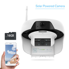 Wireless HD 720P Solar Powered WiFi IP Camera Motion-Activated Security Camrea Support Cloud Storage Built-in 16GB SD Card(China)