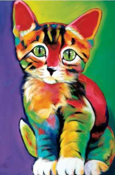 חדש diy 5d יהלומי ציור קריקטורה בעלי החיים חתול יהלומי רקמת צלב סטיץ חג המולד מתנה עגול תרגיל יום הולדת הווה