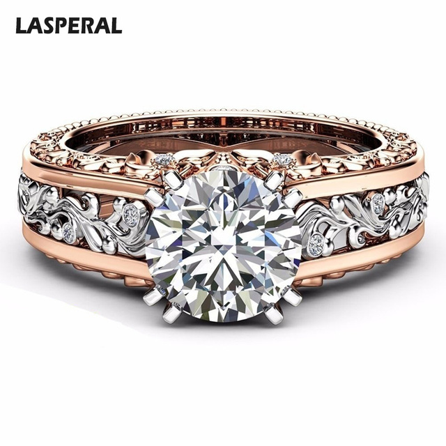 Lasperal New Women Ring Champagne Round Wedding Rings For Cubic Zircon Female Engagement