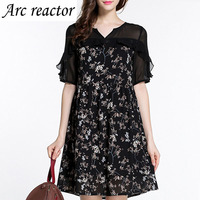 Summer Dress Chiffon Print Patchwork Short Dress O Neck V Neckline Half Sleeve Plus Size Women