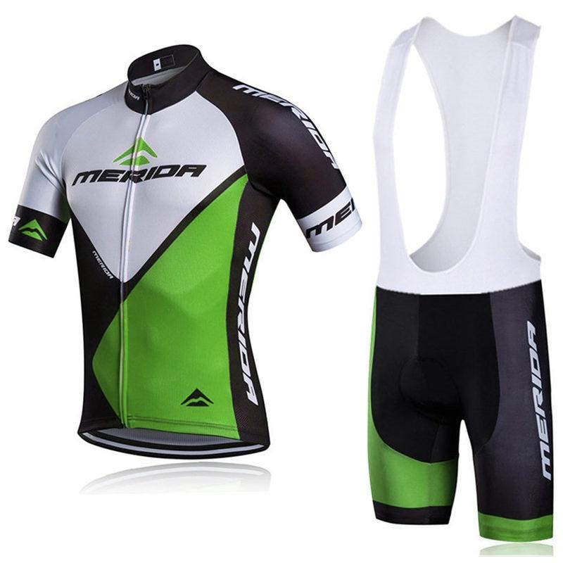 2018 Summer Quick-Dry Racing Bike Cycling Clothing Breathable MTB Bicycle Clothes MERIDA Men Cycling Jersey Bike Bib Shorts C135