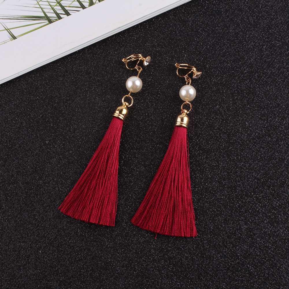 JIOFREE vintage Ethnic Fringe Tassel pearl long clip earrings Without Piercing for Women Earings Fashion Jewelry Bijoux Femme
