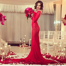 Hot Sale 2015 Mermaid Evening Dresses Boat Neck Long Sleeve Backless Sweep Train Lace Applique 2016 Red Prom Party Gowns