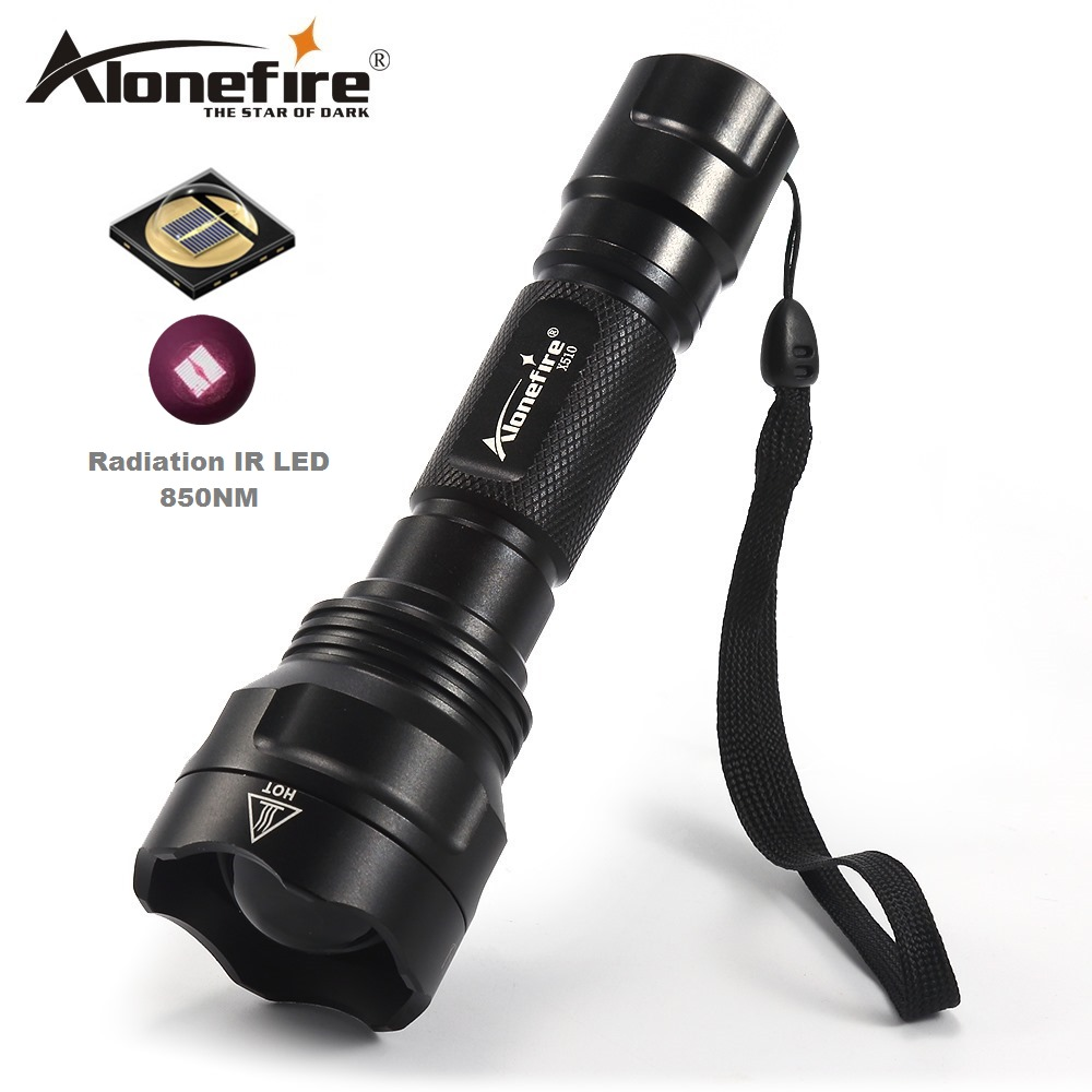 AloneFire X510 IR Lamp Torch IR 850NM Night Vision Infrared Flashlight To Hunt+Remote Pressure For Hunting Trip alonefire x510 5w infrared red ir 850nm zoomable 1 mode ir flashlight 850nm 1 mode night vision infrared flashlight