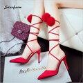 2016 Pom Cross-amarrado Lace Up Red Sole Sapatos de Salto Alto Mulher Sexy Bombas de Casamento Sandálias Partido Dedo Apontado STARFARM-SFDX015