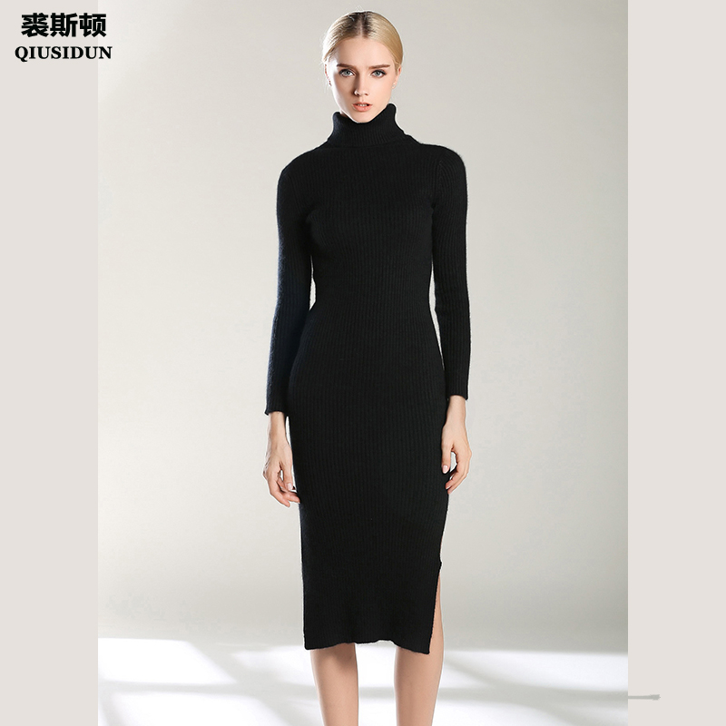 QIUSIDUN Knitted Dress O-Neck Long Sleeves Plus Size Ladies Black Womens Elegant Women's Warm Clothes Large Clothing 2017 Winter plus size double pockets knitted dress