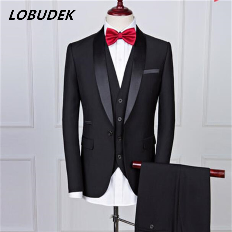 (jacket+pants) gentleman suit Wedding Groom Dresses Black Fashion slim Blazers Studio Formal Prom Party Singer Host Stage Outfit