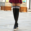 Female Sock 4 Colors Fashion Sexy Warm Thigh High Over the Knee Socks 3 bars Long Stockings For Ladies Women Students Autumn