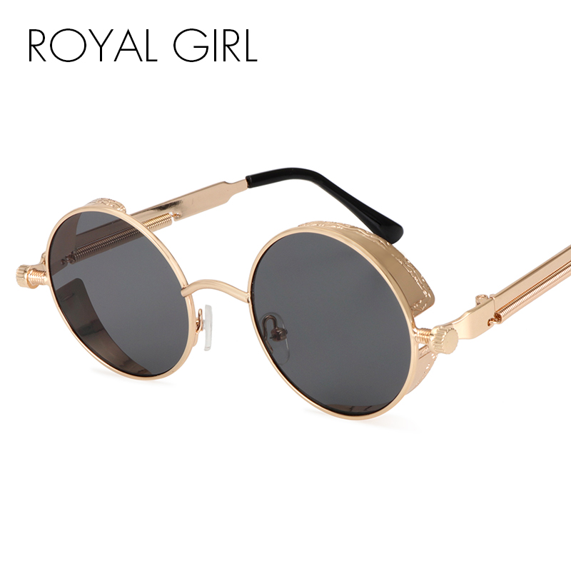 a737ae0b1d ROYAL GIRL Steampunk Round Sunglasses Men Coating Mirrored Retro Vintage  Sun Glasses Women Unisex Oculos Gafas