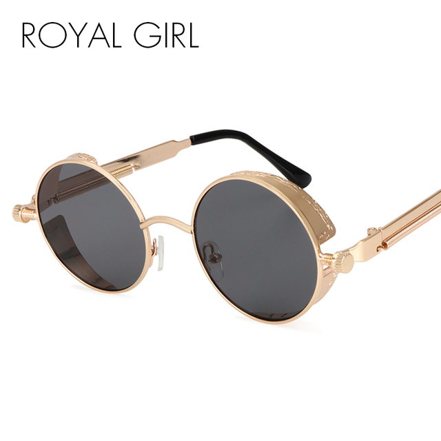 c4603868141d1 ROYAL GIRL Steampunk Round Sunglasses Men Coating Mirrored Retro Vintage  Sun Glasses Women Unisex Oculos Gafas UV400 ss418