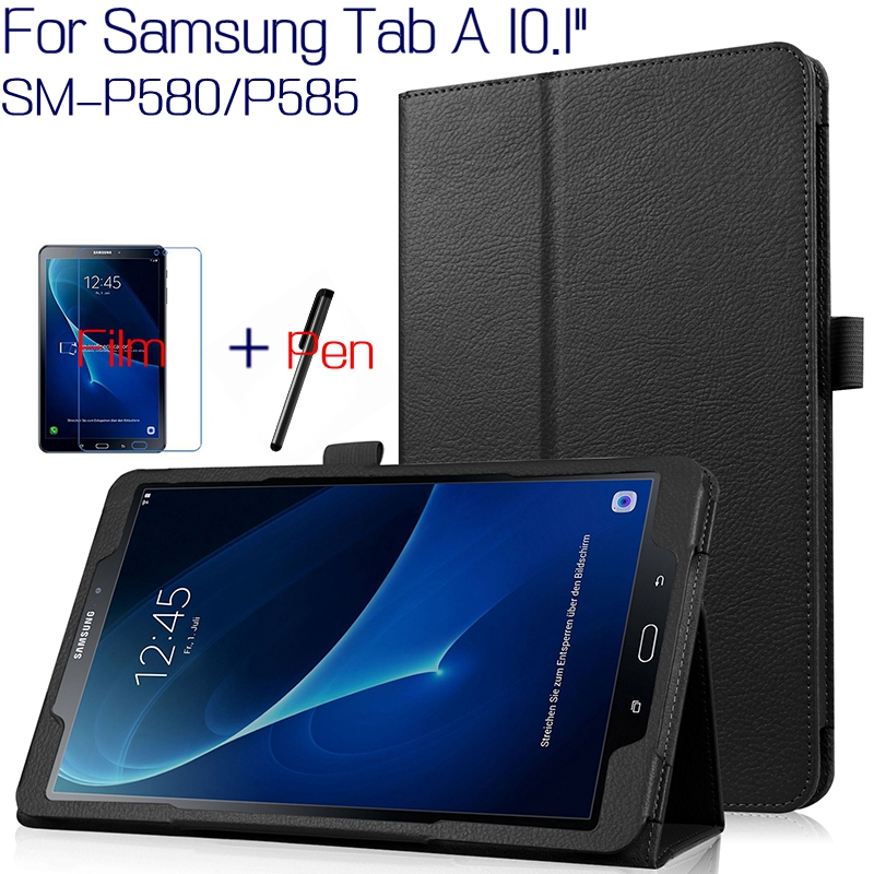 Top Quality Smart PU Leather Cover for Samsung Galaxy Tab A A6 With S Pen P580 P585 10.1 Tablet Case+Free Screen Protector+Pen ultra thin smart flip pu leather cover for lenovo tab 2 a10 30 70f x30f x30m 10 1 tablet case screen protector stylus pen