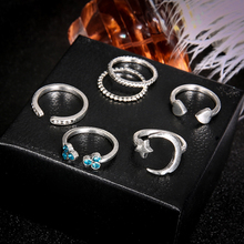 6pcs/set Bohemian Simple Retro Stars Moon Love Opening Blue Crystal Women Party Finger Rings Wedding Band Ladies Christmas Gifts
