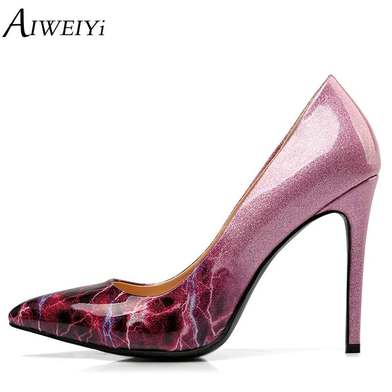 AIWEIYi Women's Gradient Pointed Toe Stiletto Heels Thin High Heel Shoes Slip On Ladies Elegant Dress Party Pumps Platform Pumps aiweiyi women high heel pump shoes 2018 pointed toe med heel high heels patent leather slip on platform pumps lady wedding shoes