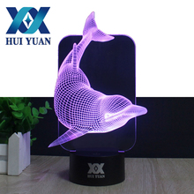 HUI YUAN Acrylic 3D Night Light Remote Control 7 Colors USB AA Battery 3D LED Desk