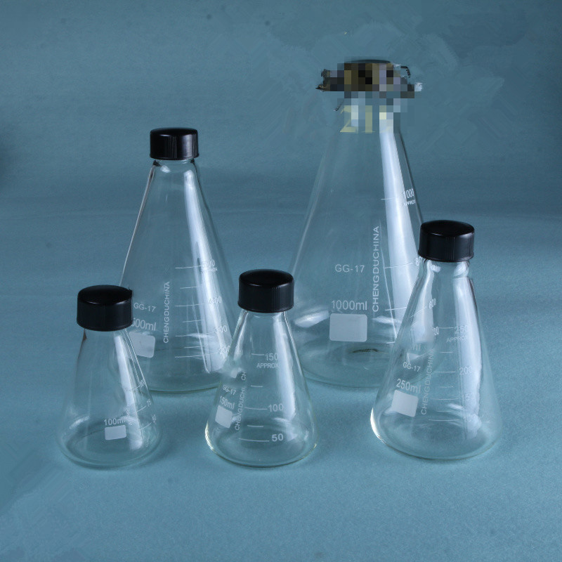 Thick Walled Conical Flask With Stopper Erlenmeyer Flask Thread Mouth Laboratory Glass Meter 50-1000ml