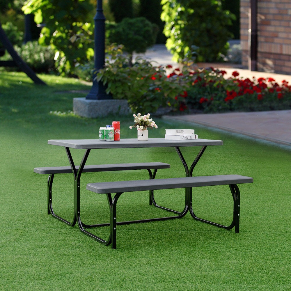 Giantex Picnic Table Bench Set Outdoor Backyard Patio Garden Party Dining All Weather Outdoor Furniture OP3499BK цена и фото