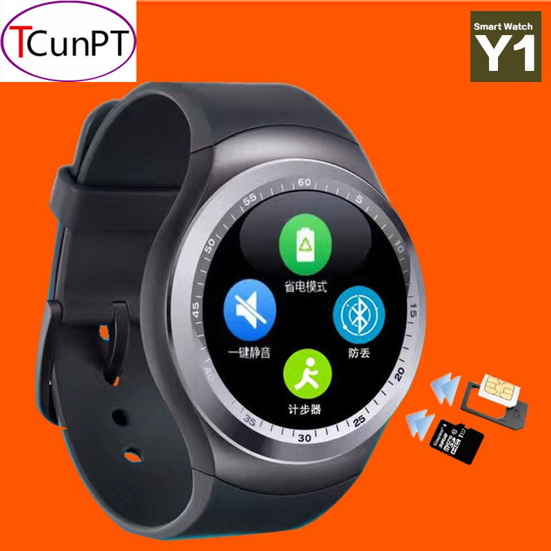 imágenes para Nueva Moda Y1 Apoyo Reloj Inteligente Tarjeta SIM y la Tarjeta de TF con Whatsapp y Facebook y Twitter APLICACIÓN Smartwatch Pk Gt08 Q18 Dz09