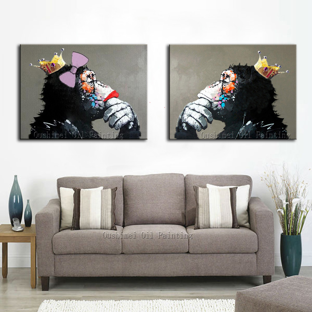 Home decor paintings - Decorative Art Handmade Monkey Oil Painting On Canvas Living Room Home Decor Wall Paintings Thinking Orangutan Animal Pictures In Painting Calligraphy