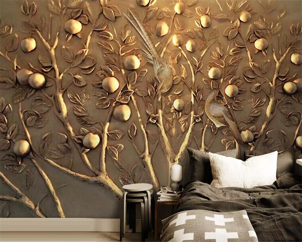 Beibehang Custom wallpaper murals 3D three-dimensional embossed fortune tree TV sofa background wall mounted 3d